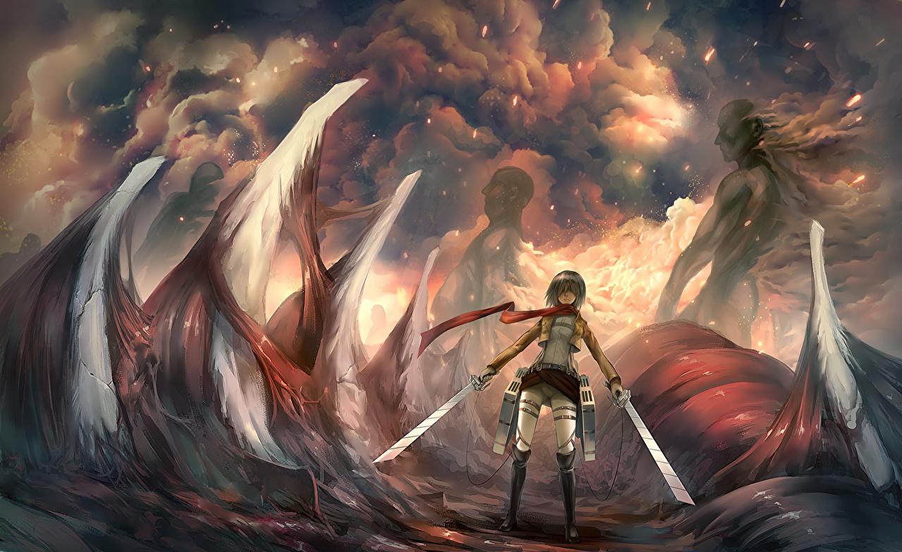 Image Swords Warrior Shingeki No Kyojin Mikasa Ackerman Anime