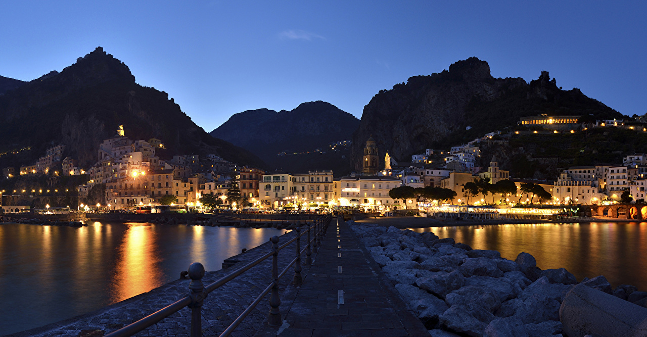 Photo Amalfi Italy Mountains Fence Coast night time Houses Cities mountain Night Building
