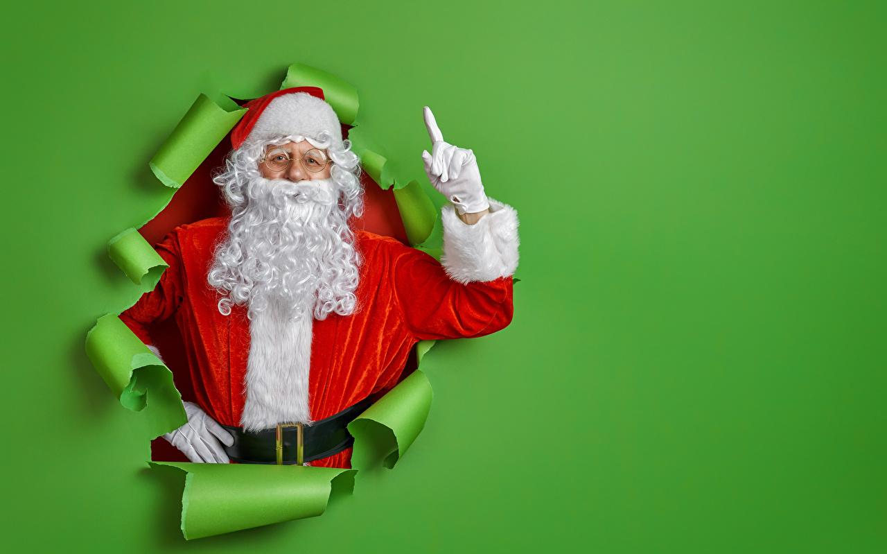 Foto kerstmis Handschoenen Baard Kinderen Kerstman Uniform wenskaartsjabloon Gekleurde achtergrond kerst Nieuwjaar handschoen kind baarden bebaarde Wenskaart Sjabloon