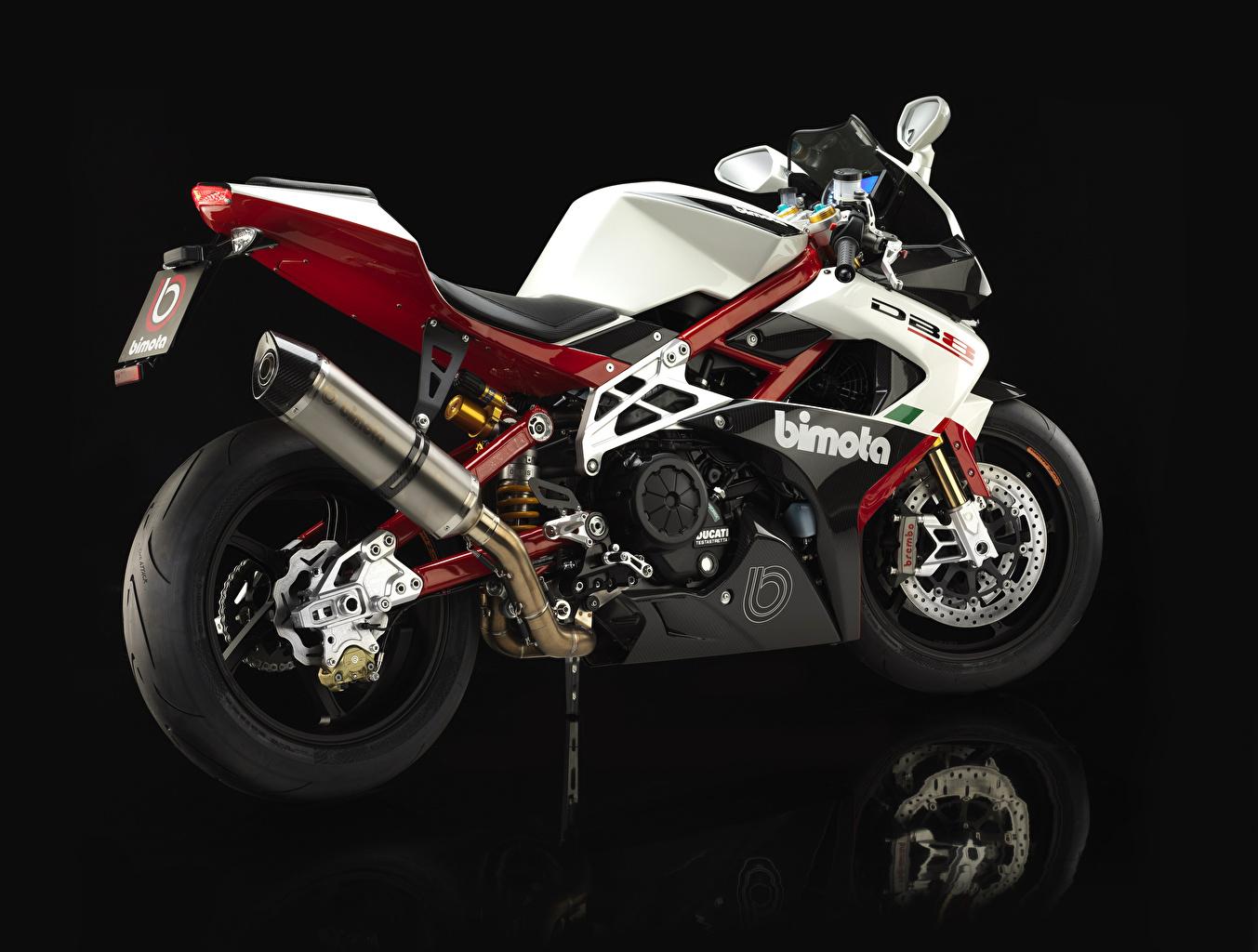 Photos 2013-16 Bimota DB8 Italia motorcycle Closeup Black background Motorcycles