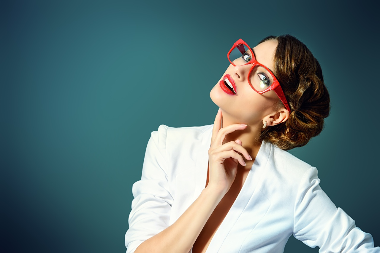 Photos Brown haired Girls Hands eyeglasses Glance Red lips Colored background female young woman Glasses Staring