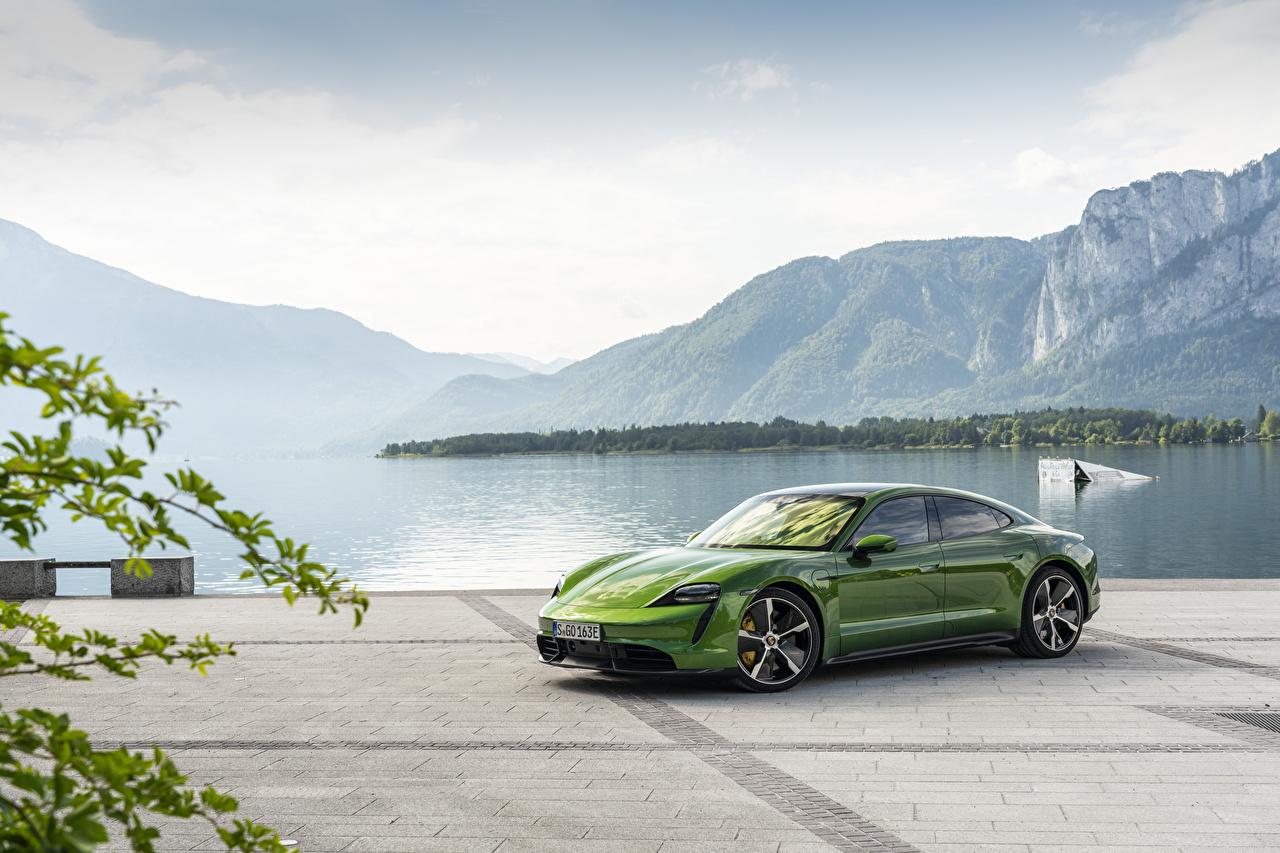 Images Porsche Taycan Green Cars auto automobile