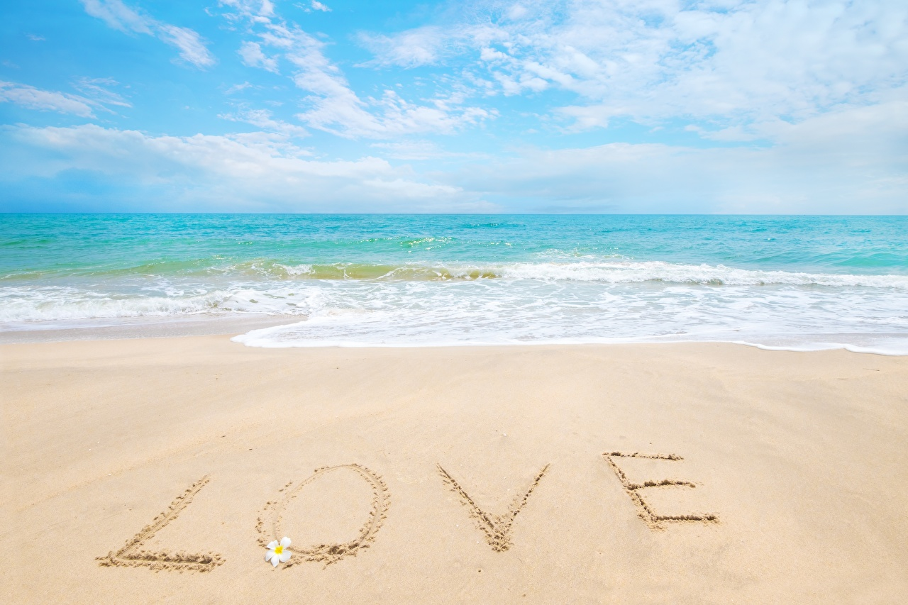 Desktop Wallpapers English Beach Sea Love Nature Sand lettering beaches text Word - Lettering
