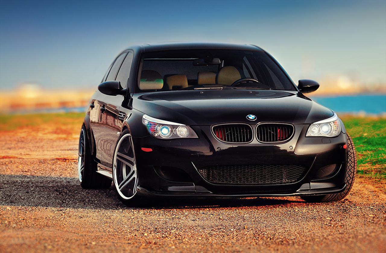 Photo BMW M5 E60 Black Cars Front auto automobile