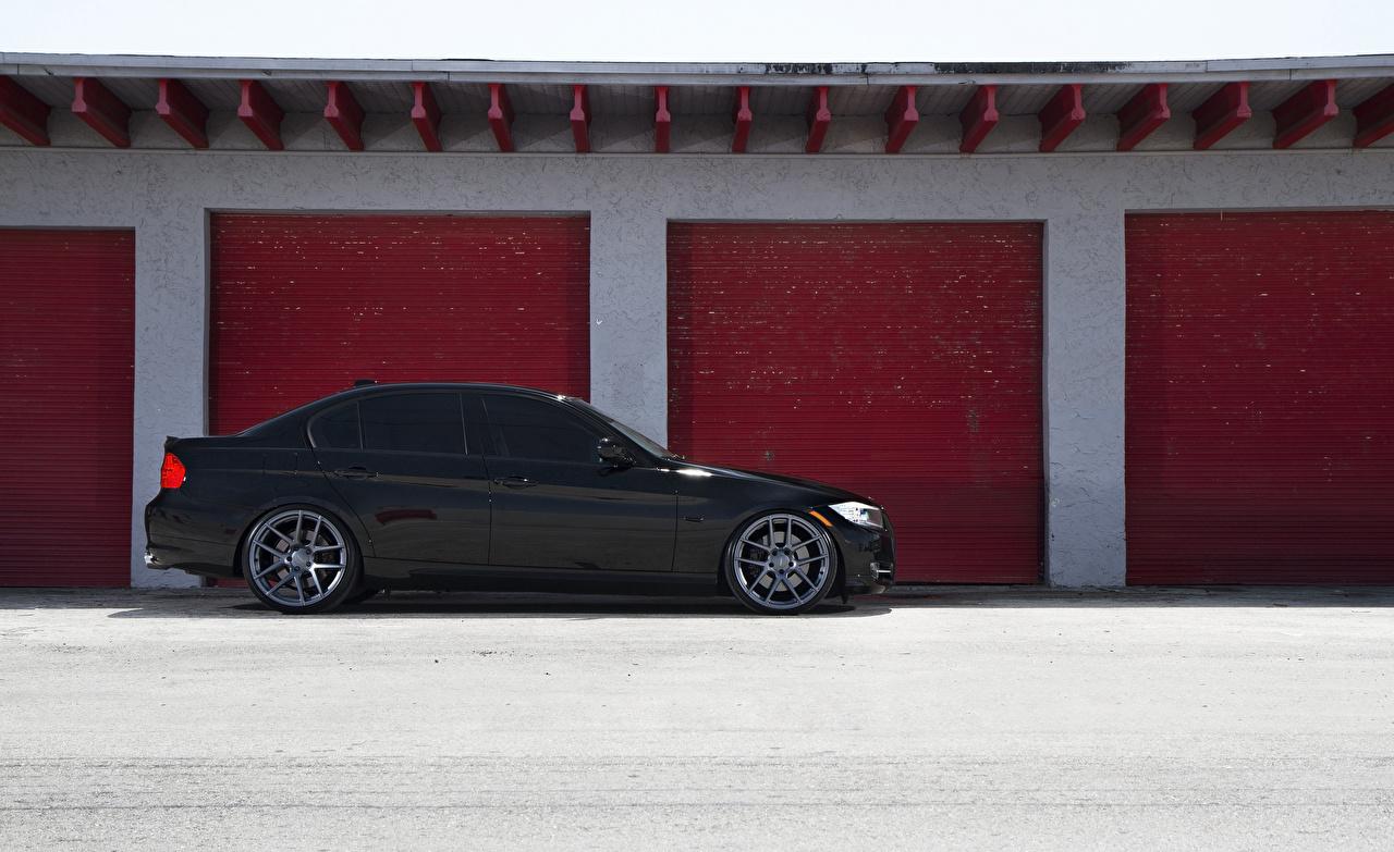 BMW E90 Lateralmente Preto Garagem carro, automóvel, automóveis Carros