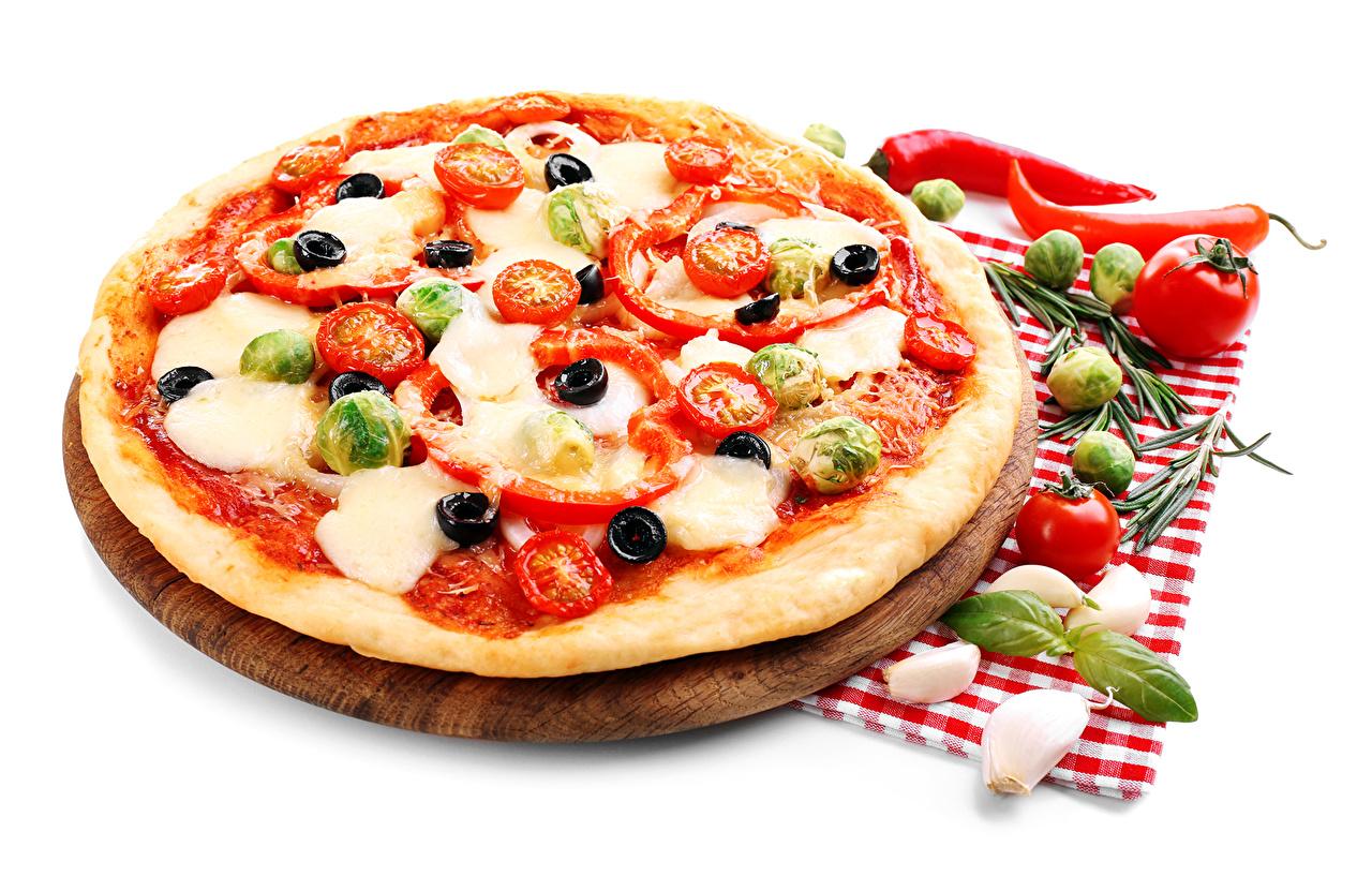 Bilder Pizza Tomate Knoblauch Fast food Gemüse Lebensmittel Weißer hintergrund