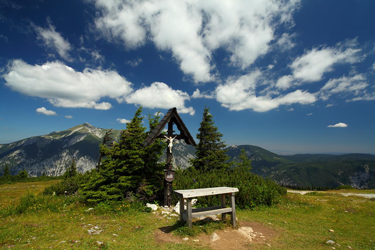 Images Austria Gatterlkreuz Nature mountain Cross Clouds Mountains
