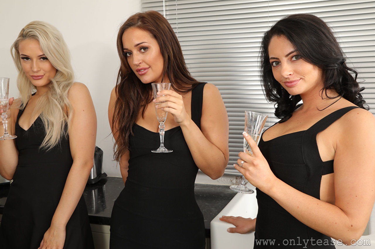 Images Hollie Q Becky Bond Paige F Only Blonde girl Brown haired Brunette girl young woman Hands Three 3 Stemware Staring Girls female Glance