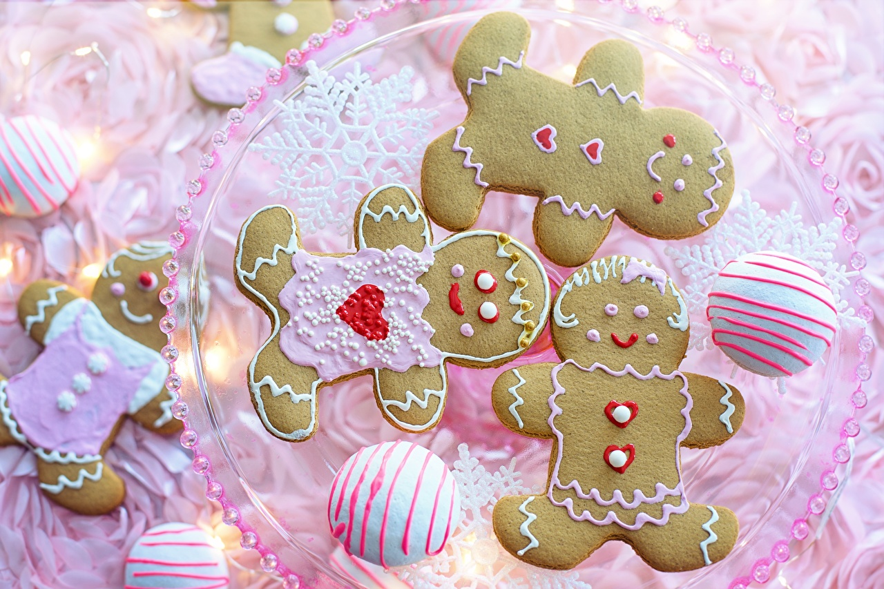 Wallpapers Heart Snowflakes Icing sugar Food Cookies Pastry Baking