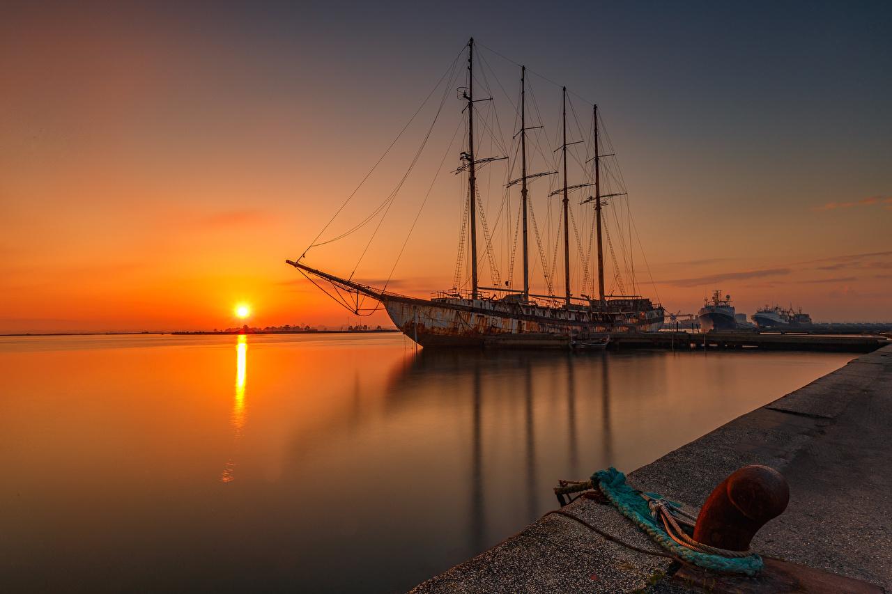 Photos Sun Nature ship Sunrises and sunsets Pier Ships sunrise and sunset Berth Marinas