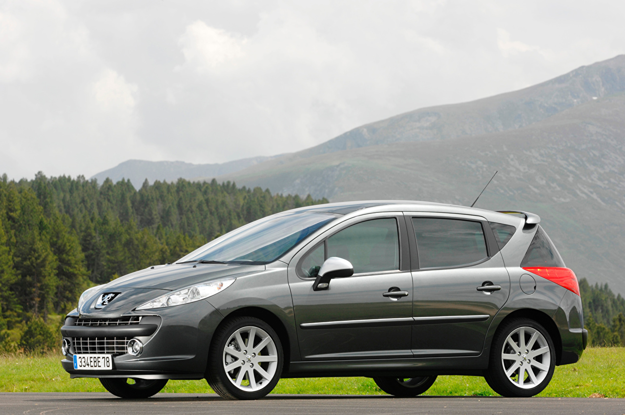 Wallpaper Peugeot Estate car 207 RC SW Grey Side Cars Metallic Station wagon gray auto automobile