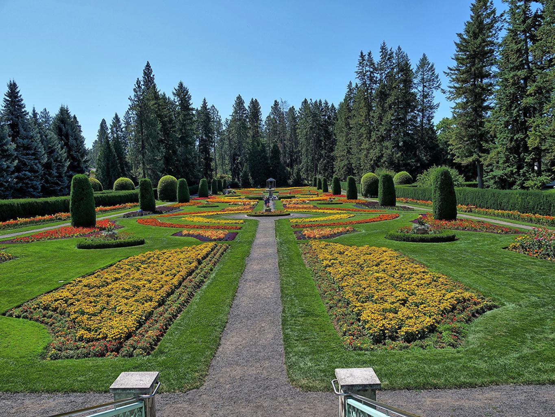 Fotos von Vereinigte Staaten Manito Gardens Spokane HDR Natur Fichten Parks Rasen Strauch Design USA HDRI Park