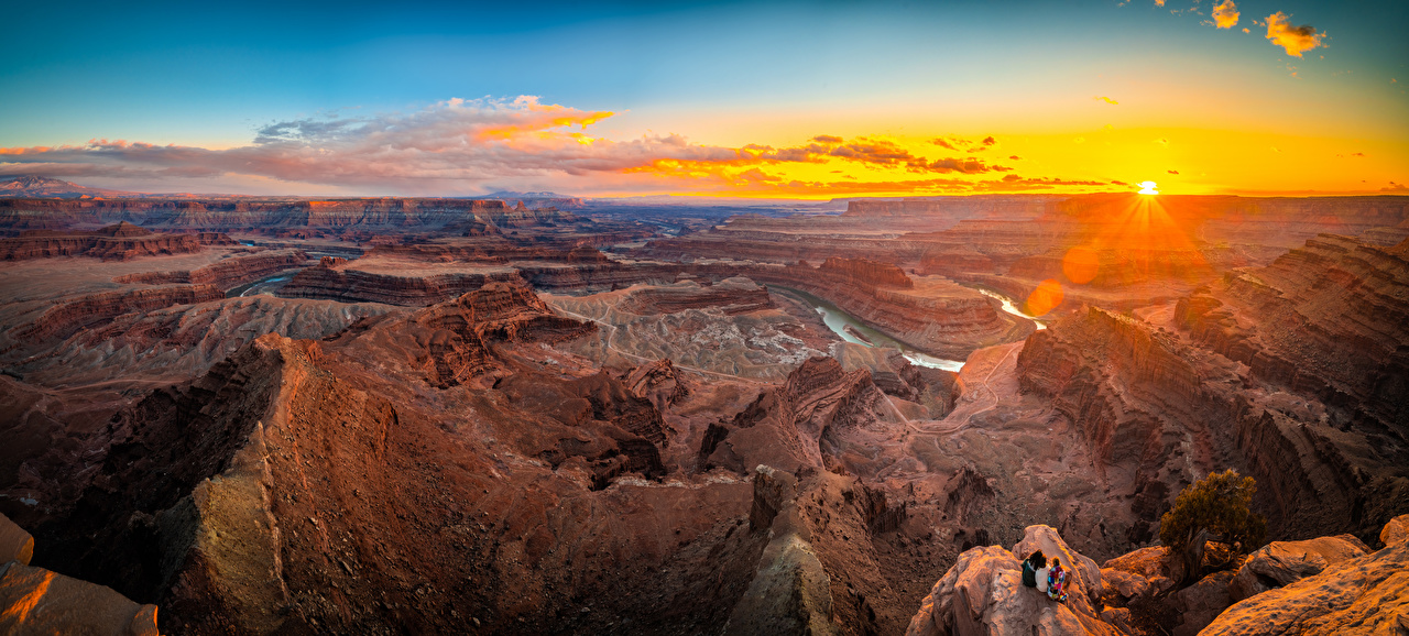 Images Nature USA Dead Horse Point State Park, Utah Sun Canyon Panorama park Scenery Sunrises and sunsets Rivers canyons panoramic Parks sunrise and sunset landscape photography river