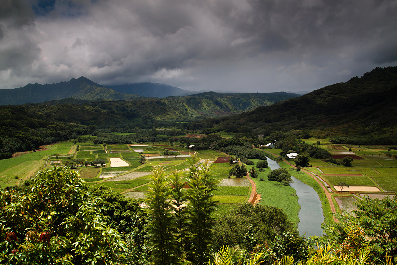 Image Hawaii Hanalei storm cloud Nature Mountains Fields Scenery river Thundercloud mountain landscape photography Rivers