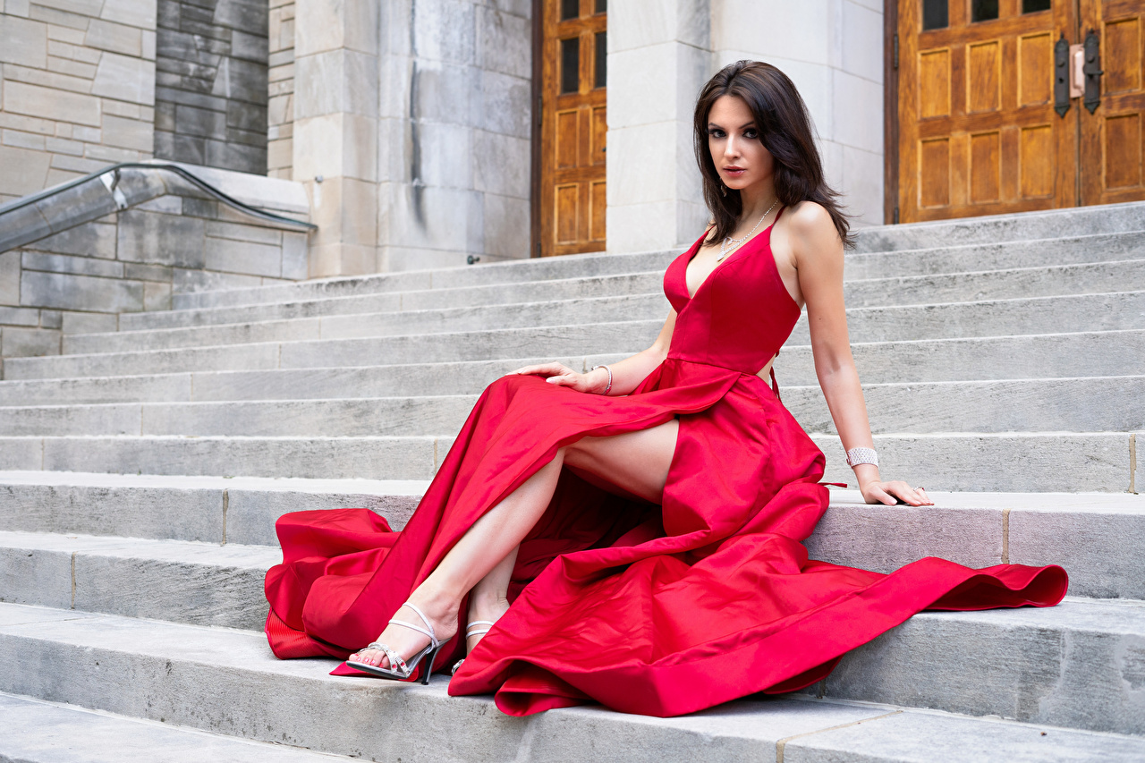 Photos Madi Red Stairs female Legs Sitting Staring gown Girls stairway staircase young woman sit Glance frock Dress