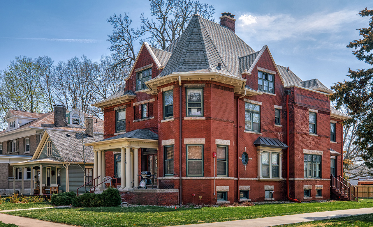 Foto Vereinigte Staaten Franklin Square Historic District, Bloomington, Illinois Eigenheim Städte Gebäude Design USA Herrenhaus Haus