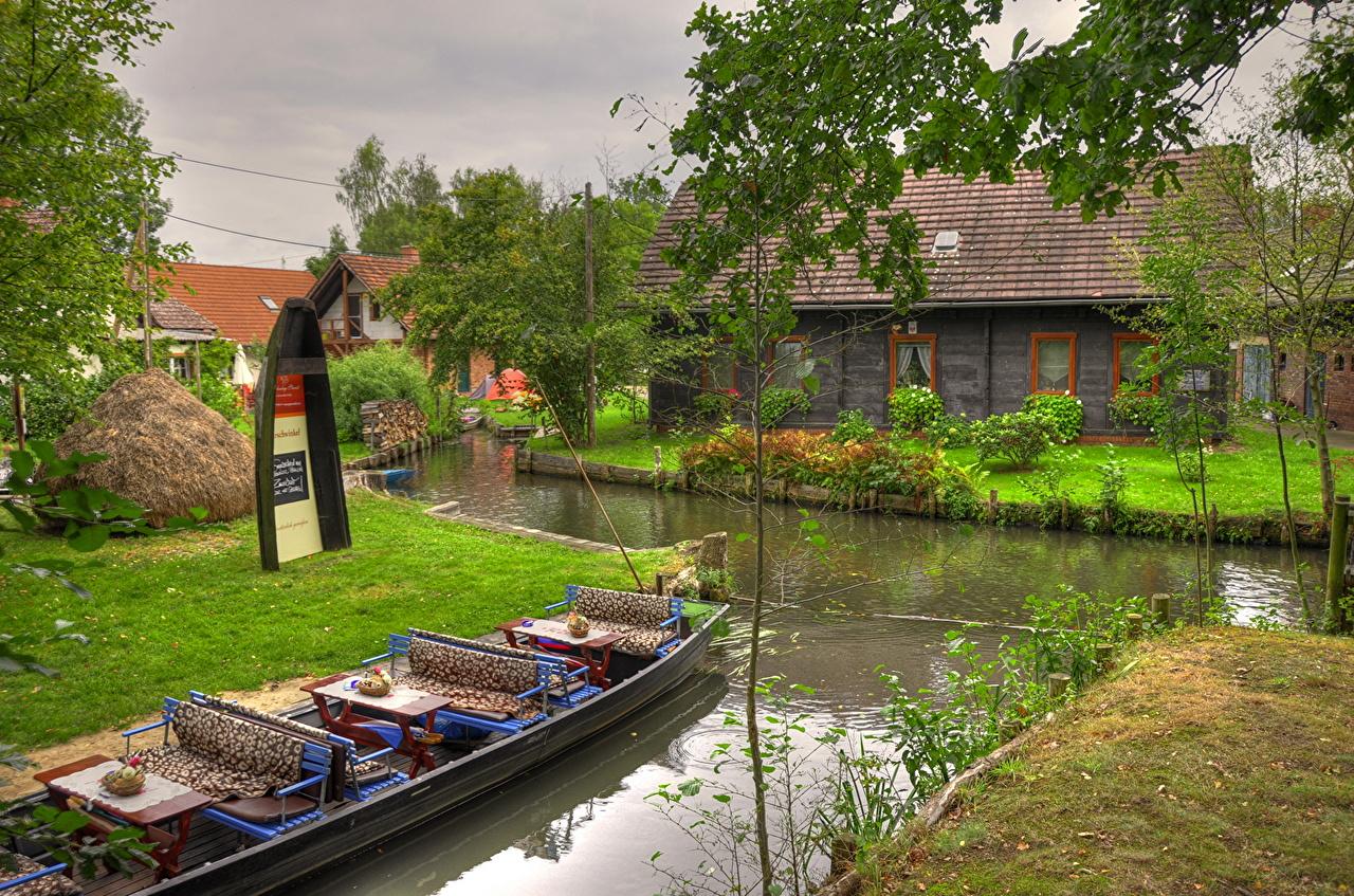Wallpaper Germany Brandenburg Lubbenau Canal Boats river Cities