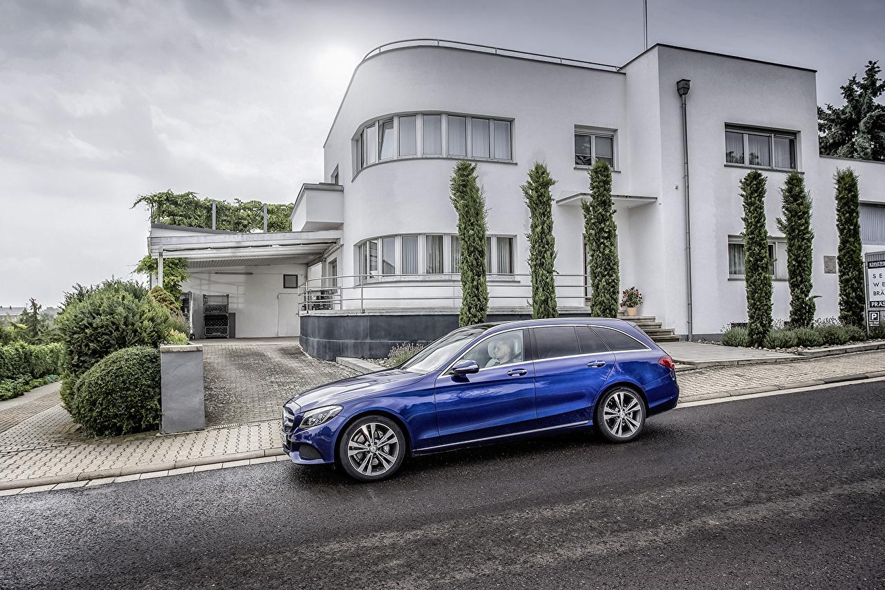 Mercedes-Benz Maison 2014 C 250 Avantgarde Estate S205 Bleu Latéralement Asphalte Break voiture, automobile, Bâtiment Voitures