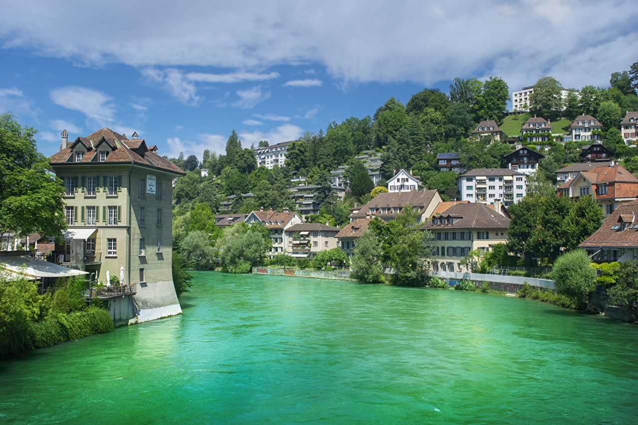 Desktop Wallpapers Bern Switzerland Aare river Trees Houses Cities Rivers Building