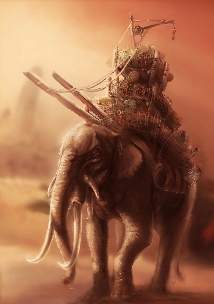 Wallpaper elephant Fantasy  for Mobile phone Elephants