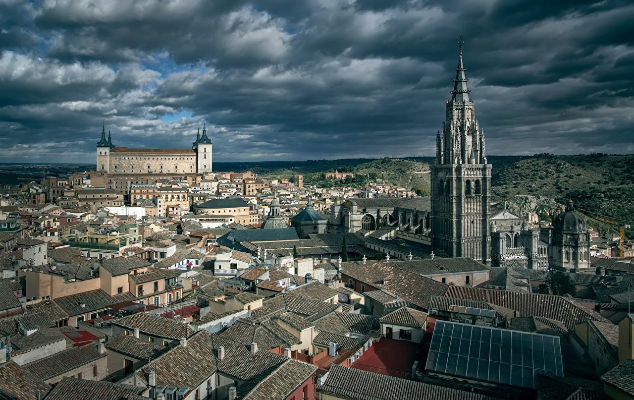 Fotos von Toledo Spanien Türme Von oben Wolke Städte Gebäude Turm Haus