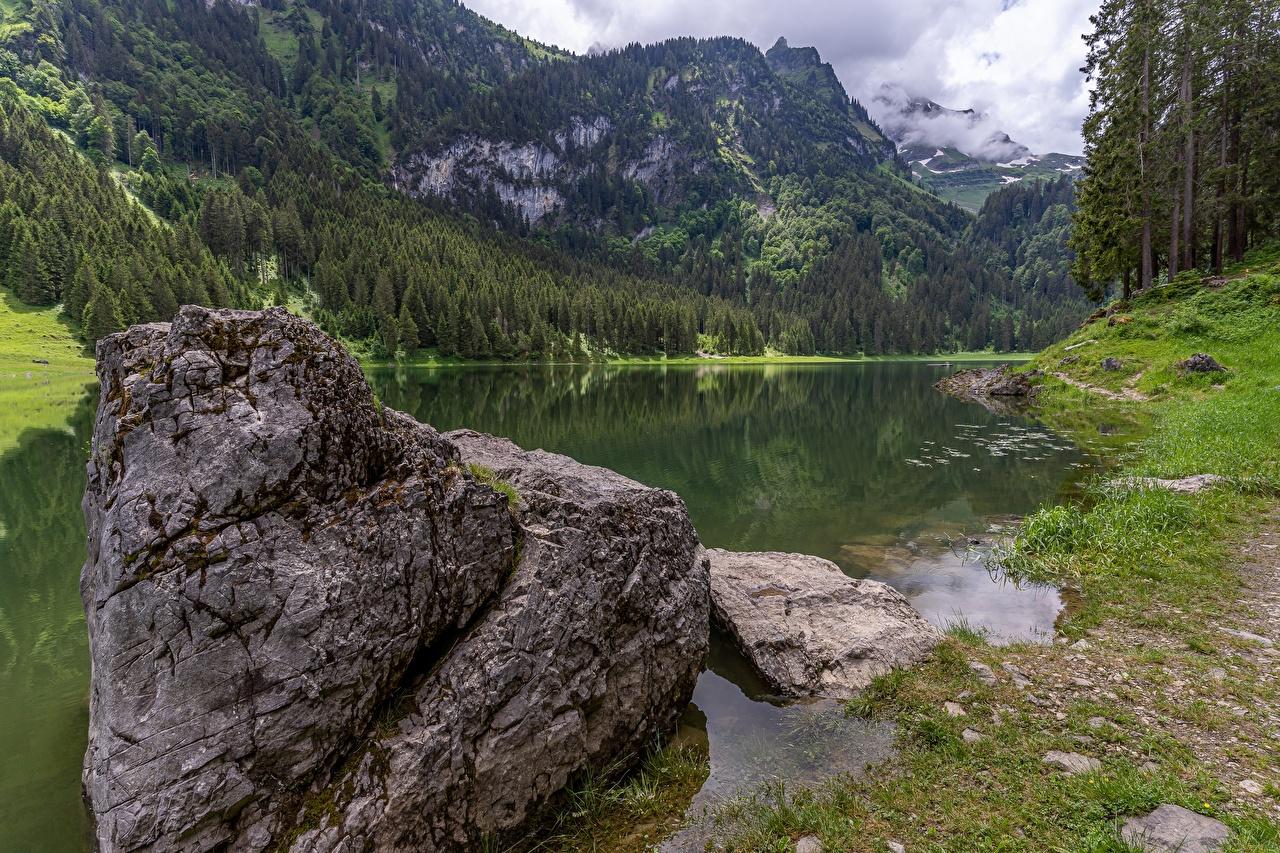 Обои для рабочего стола альп Швейцария St. Gallen, lake Voralpsee Горы Природа лес Озеро Камни Альпы гора Леса Камень