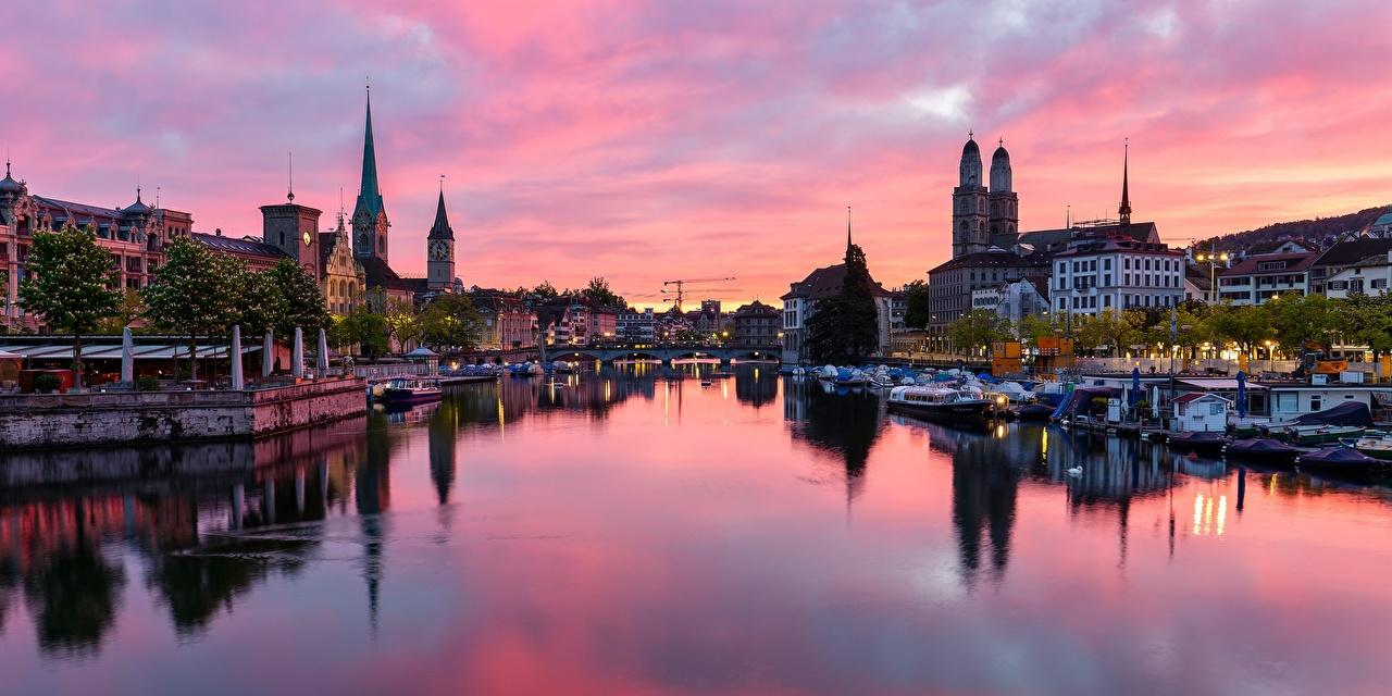 Tapeta Zurych Szwajcaria most Statki rzeczne rzeka Wieczór Domy miasto Mosty Rzeki Miasta budynki budynek
