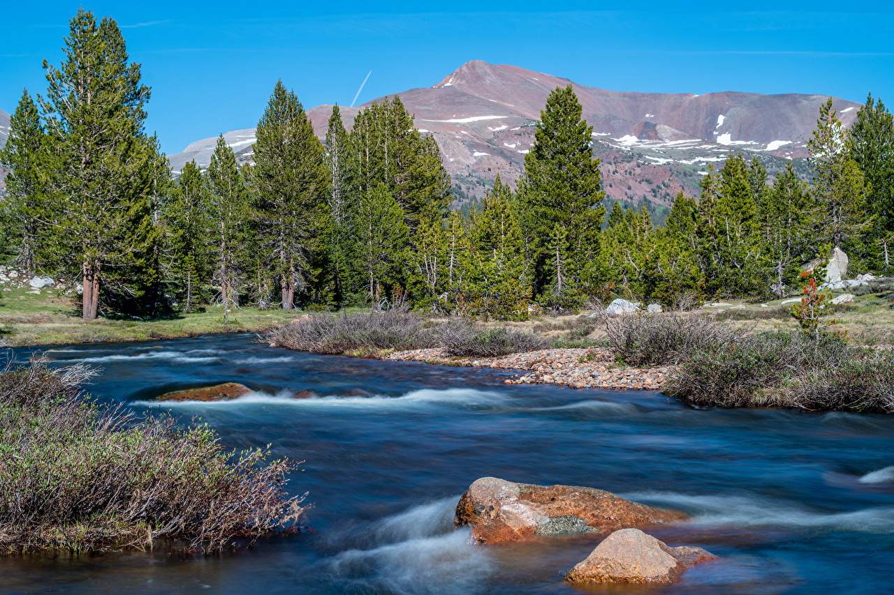 Images Yosemite California USA Nature Mountains park stone Rivers mountain Parks river Stones