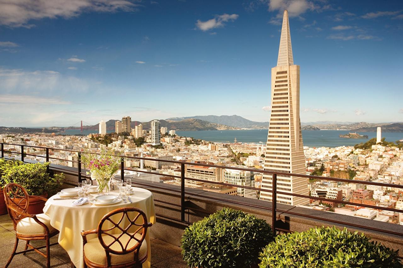 Photos California San Francisco USA Cafe Table Skyscrapers Cities