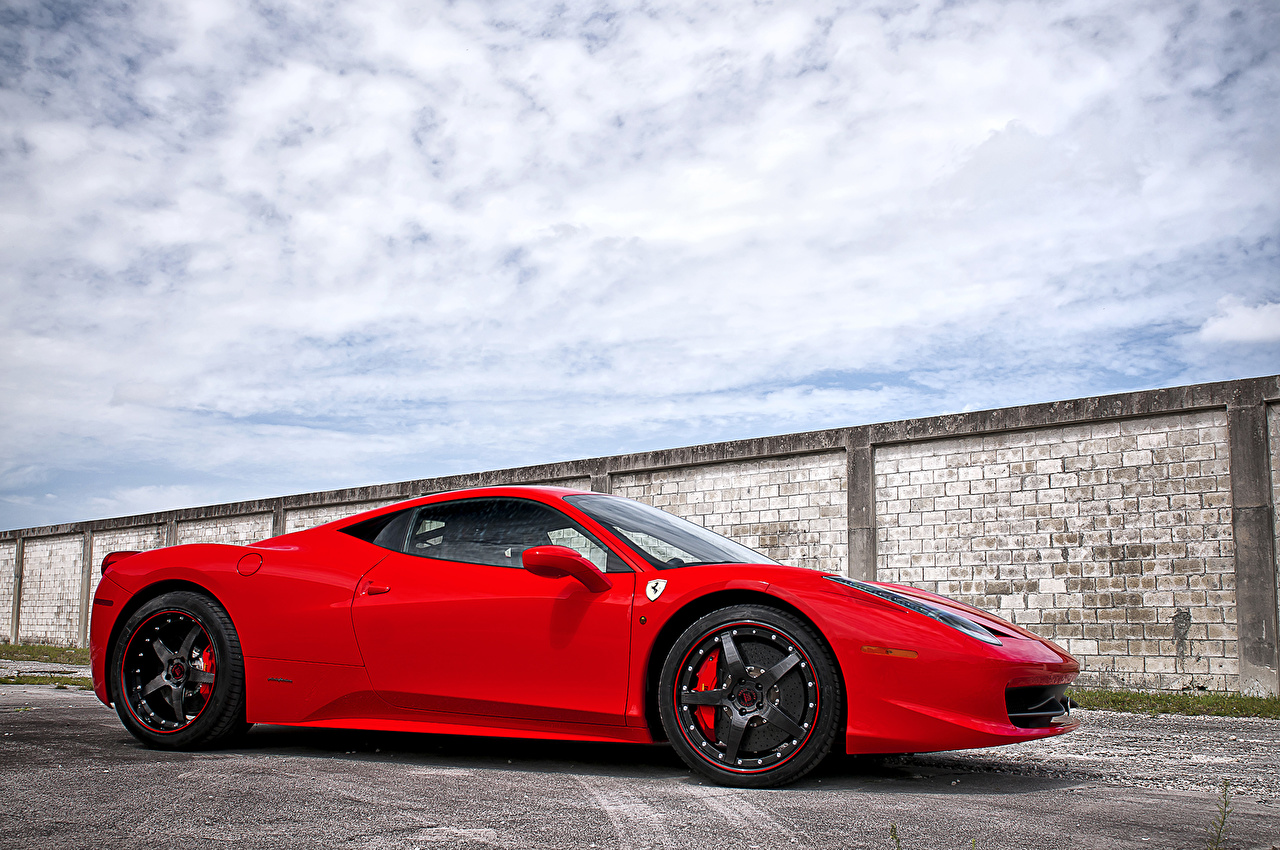 Wallpaper Ferrari 458 italia Luxury Red Side auto Clouds luxurious expensive Cars automobile