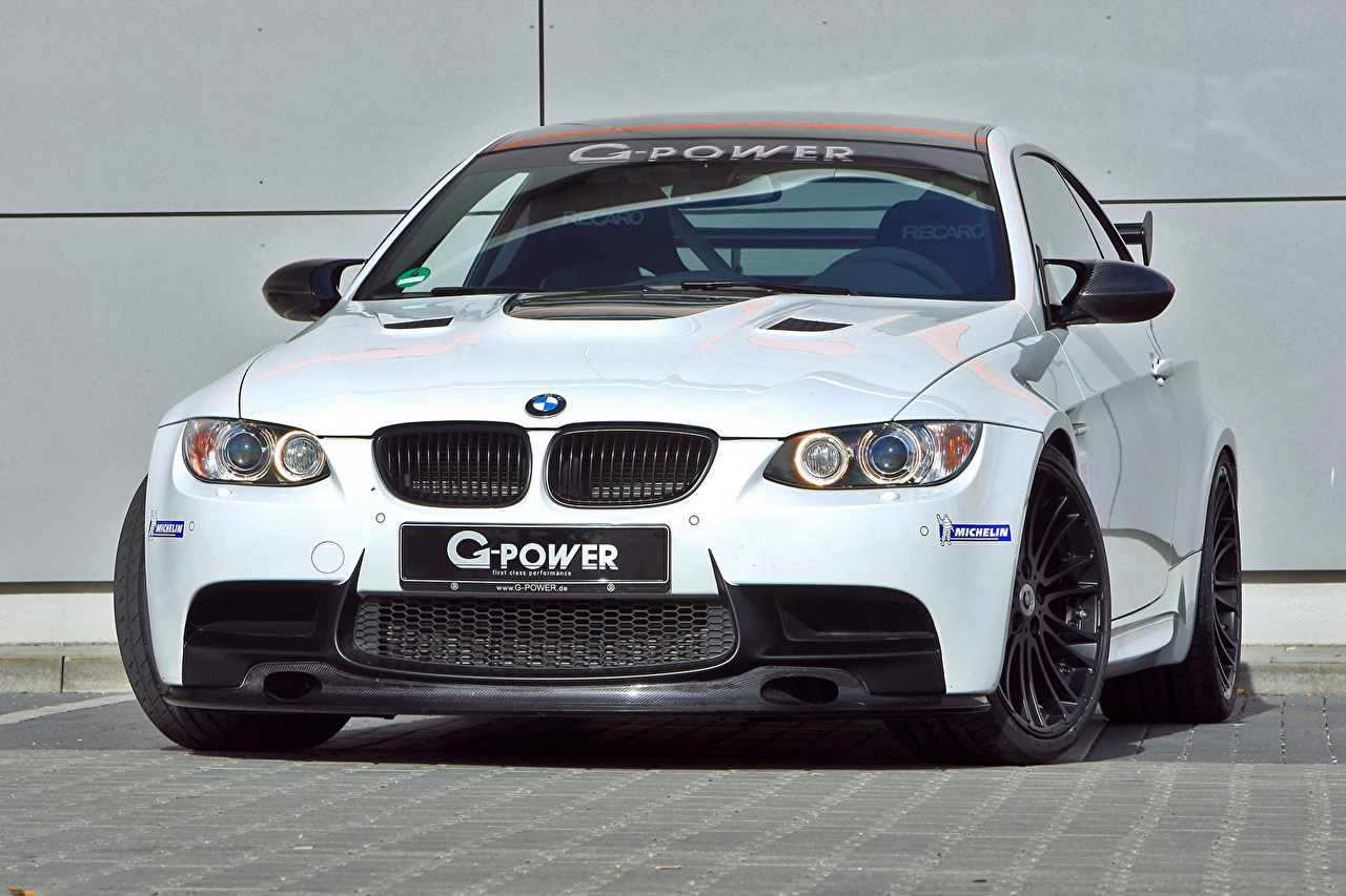 Photos BMW Tuning 2014 G-Power M3 V8 SK (BMW M3 E92) White Front automobile Cars auto