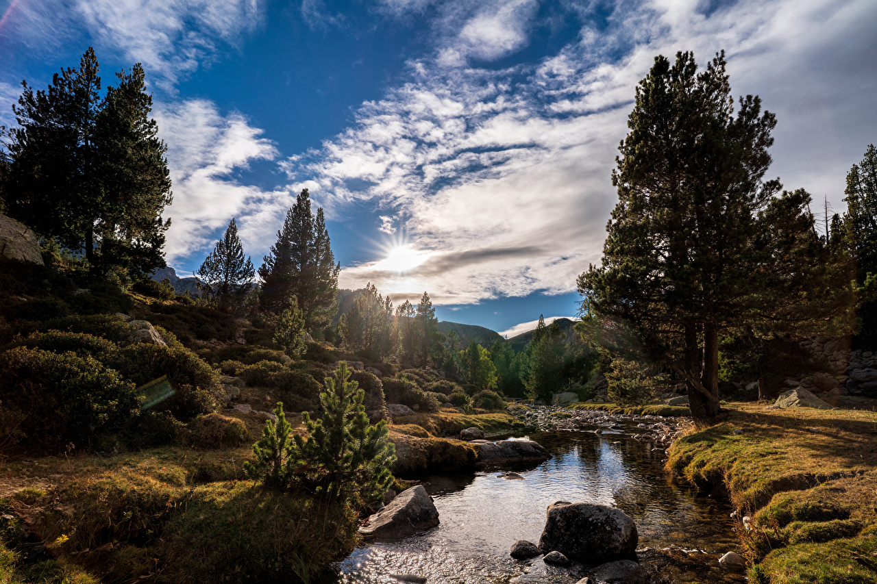 Wallpaper Andorra Pyrenees Nature Autumn mountain river Stones Trees Clouds Mountains stone Rivers