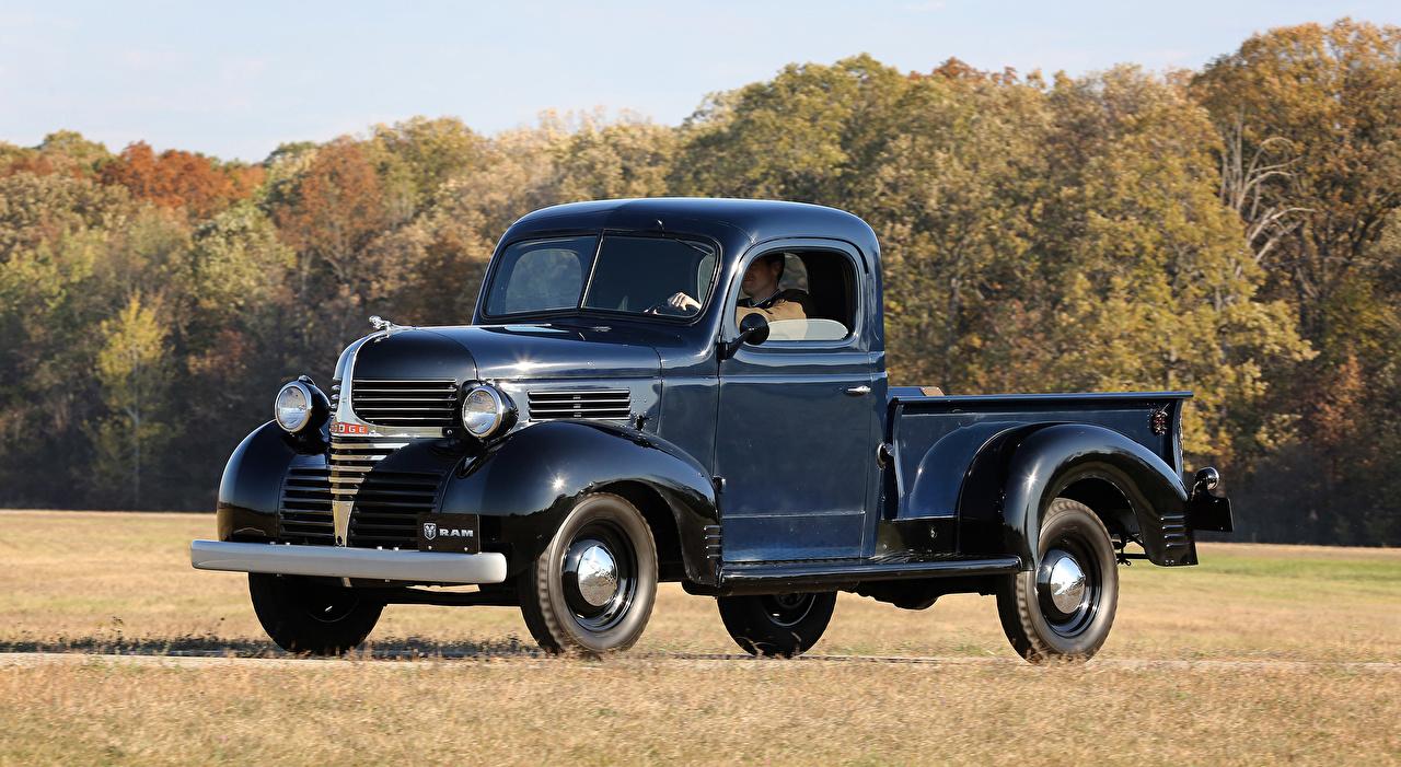Wallpaper Dodge 1940 Model VC Pickup Blue vintage Metallic automobile Retro antique Cars auto