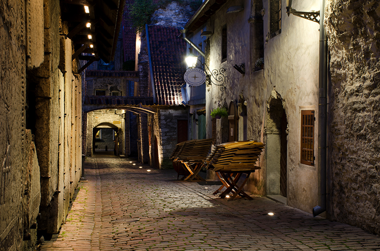 Picture Tallinn Estonia Street night time Street lights Houses Cities Night Building