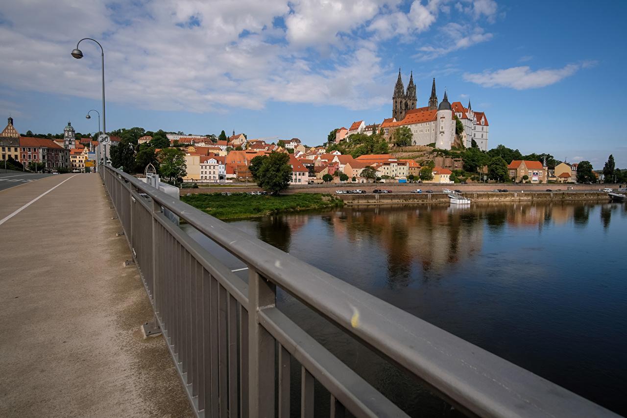Desktop Wallpapers Germany Meissen Saxony Bridges river Street lights Houses Cities bridge Rivers Building