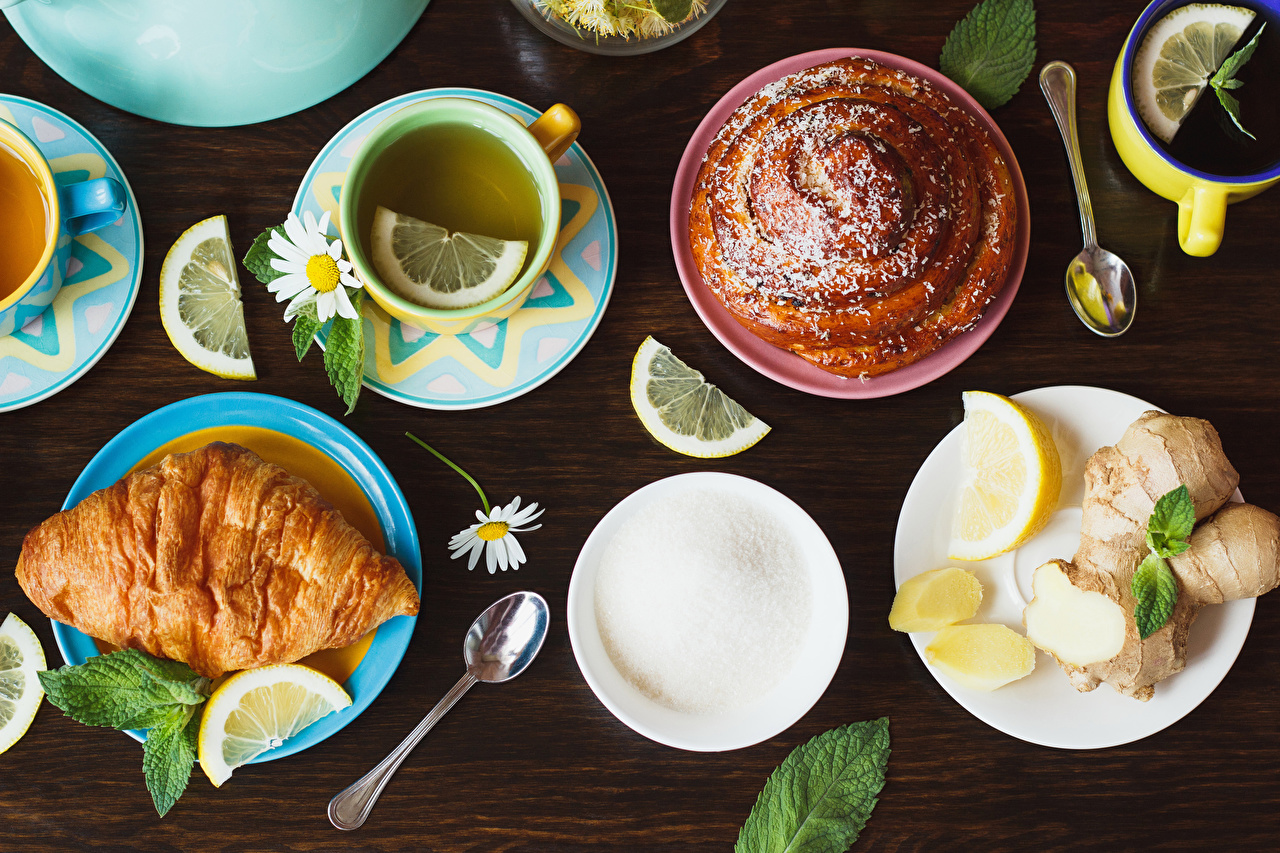 Picture Tea Sugar Croissant Lemons matricaria Cup Food Plate Spoon baking Camomiles Pastry