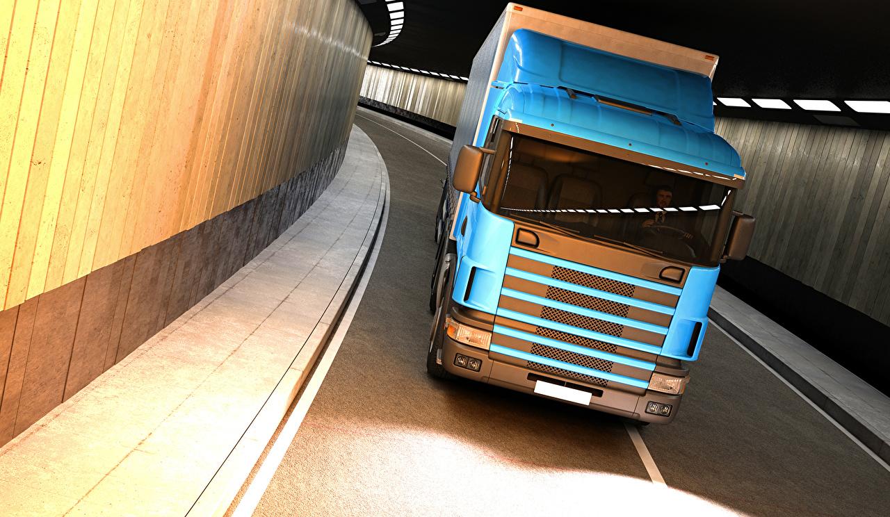 Desktop Wallpapers lorry Light Blue 3D Graphics Cars Front Trucks auto automobile