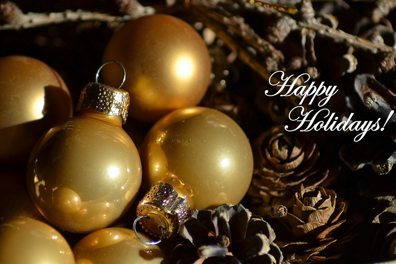 Wallpaper New year Gold color Balls Pine cone Holidays Christmas Conifer cone