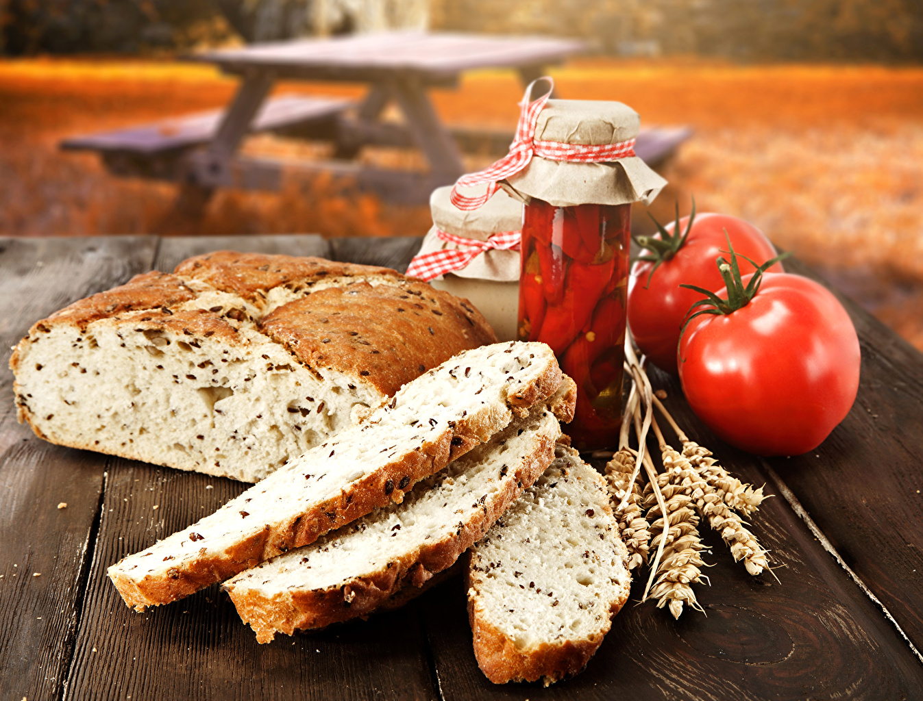 Pictures Tomatoes Jar Bread spikes Food Still-life spike Ear botany