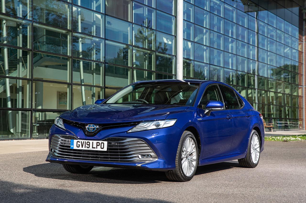 Bilder Toyota 2019 Camry Hybrid Hybrid Autos Blau automobil auto Autos