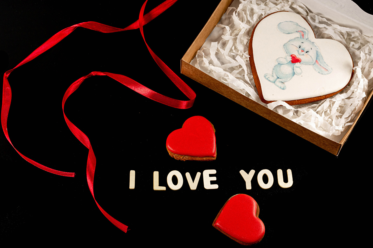 Desktop Wallpapers Valentine's Day English Word - Lettering Food Ribbon Cookies Black background Design text lettering