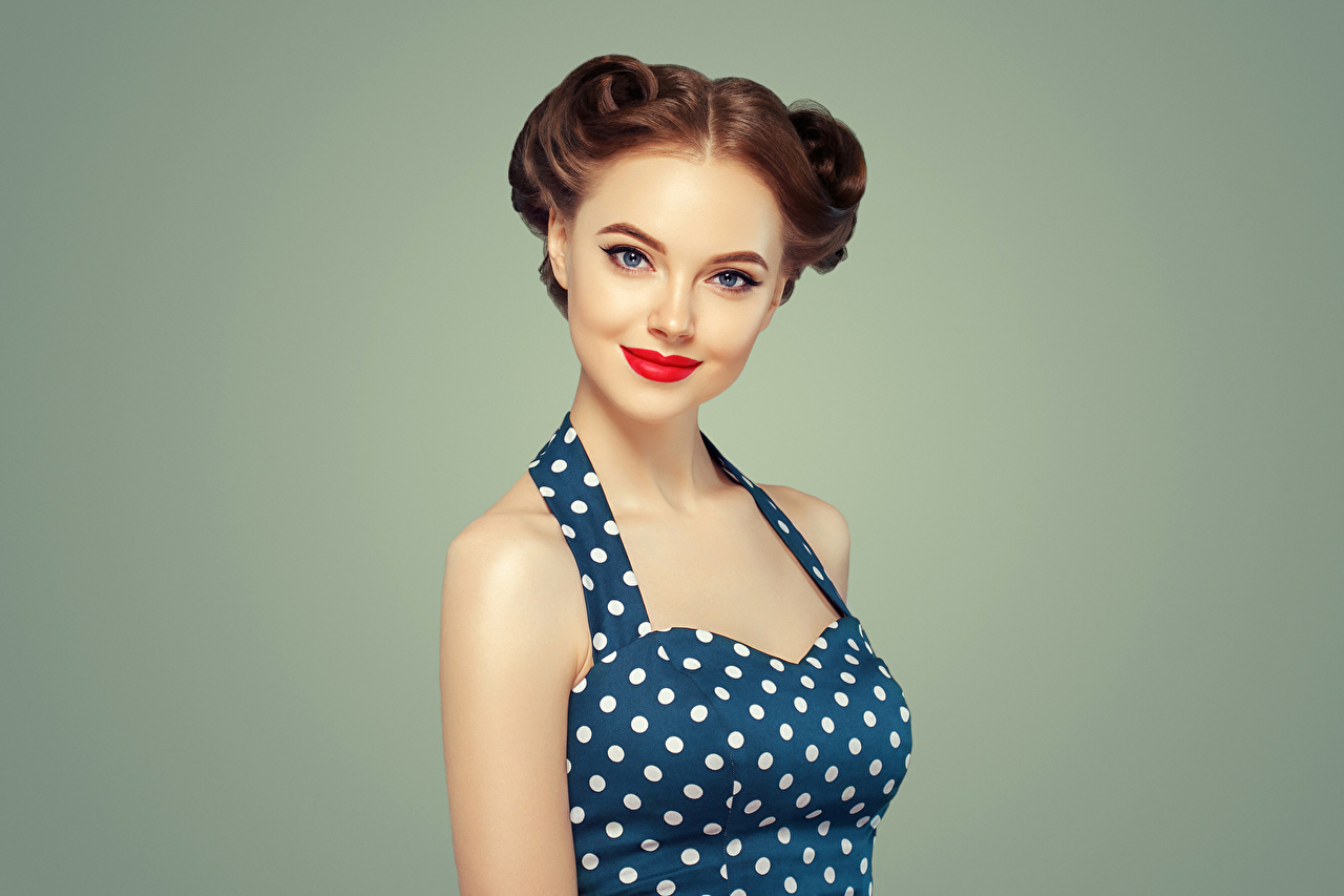 Images Brown haired Smile female Glance Red lips Girls young woman Staring