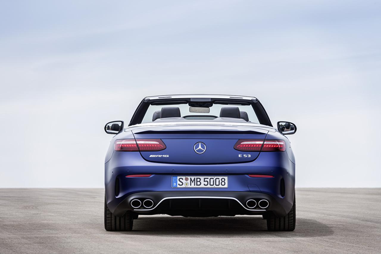 Photo Mercedes-Benz E 53 4MATIC, Cabrio Worldwide, A238, 2020 Cabriolet Blue Cars Metallic Back view Convertible auto automobile