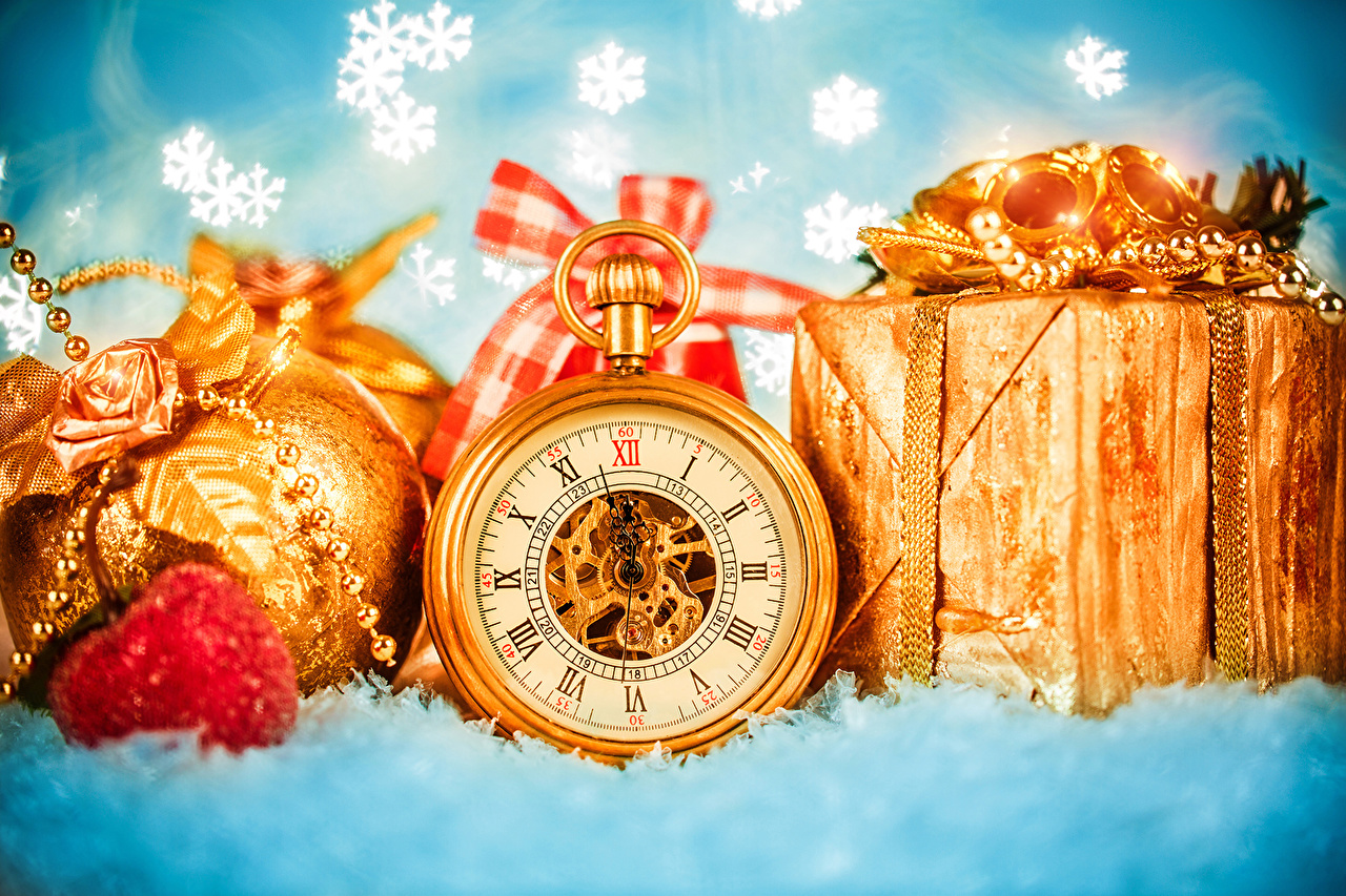 Photos Christmas Pocket watch Gold color Snowflakes Gifts Balls Holidays New year present
