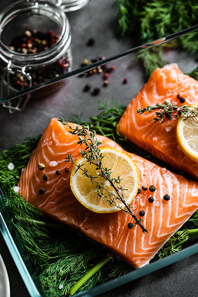 Desktop Wallpapers Salmon Dill Lemons pieces Food Spices  for Mobile phone Piece Seasoning