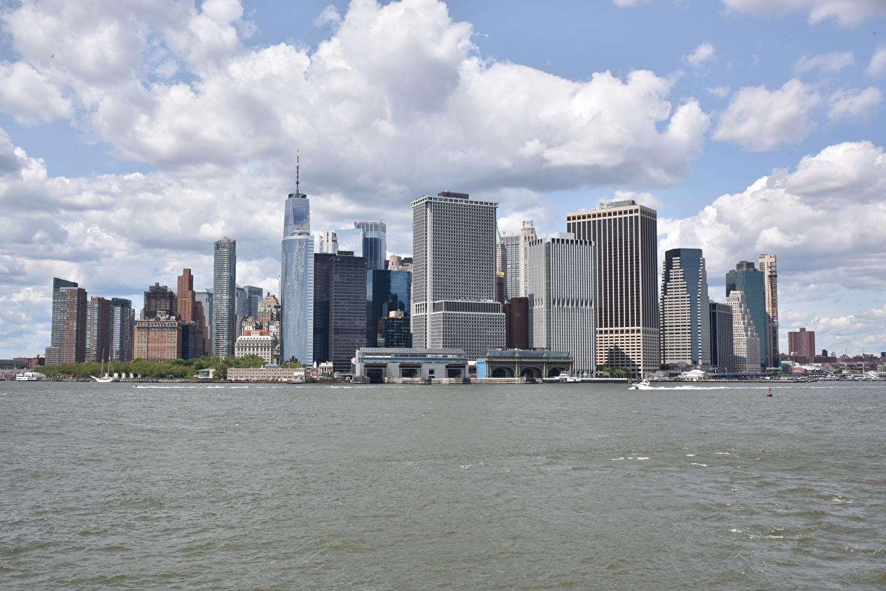 Image Manhattan New York City USA Bay Motorboat Skyscrapers Cities speedboat powerboat