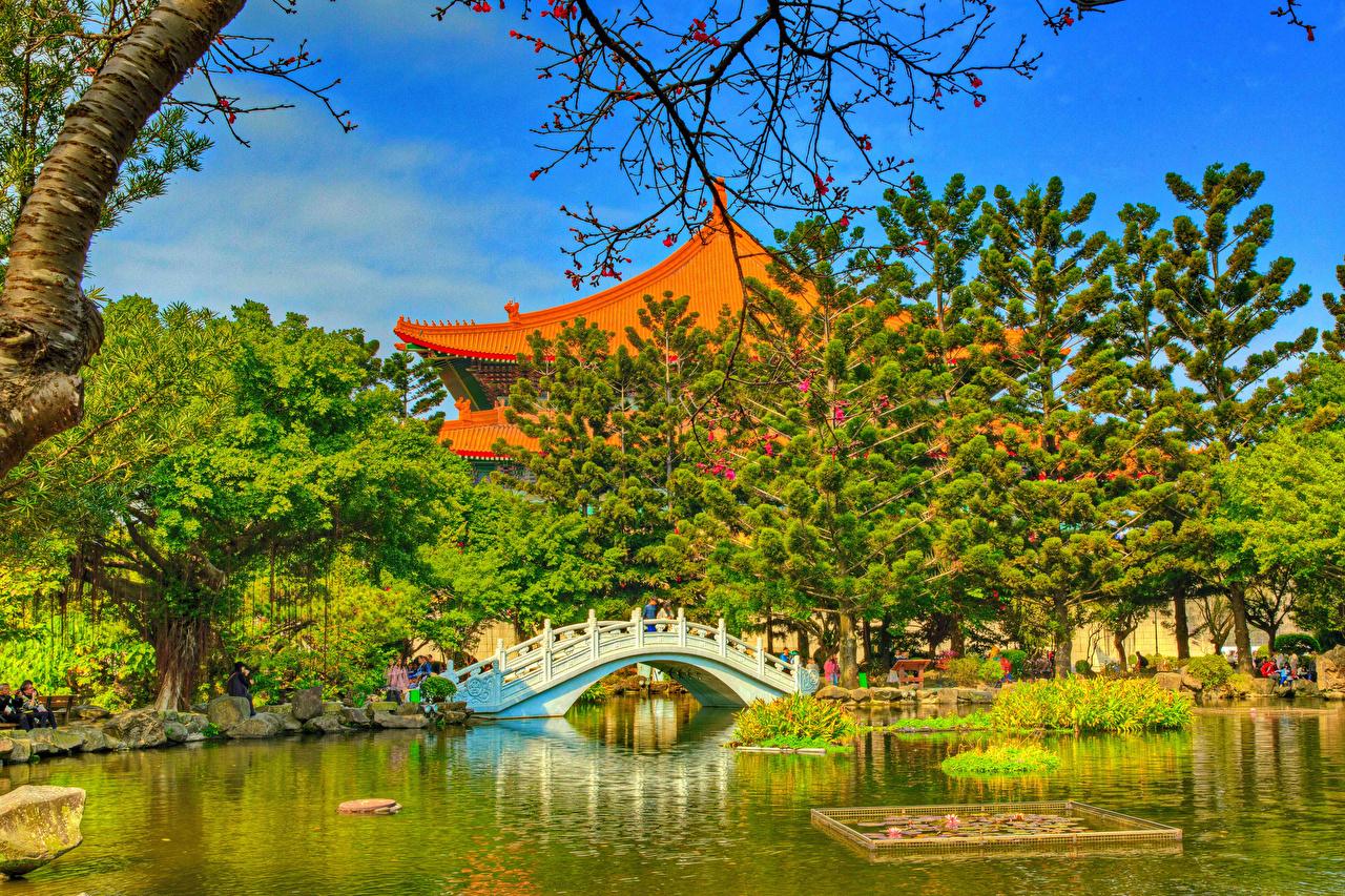 Pictures Taiwan Chiang Kai-shek Memorial Taipei HDRI Nature Bridges Pond Gardens Temples Trees HDR bridge temple