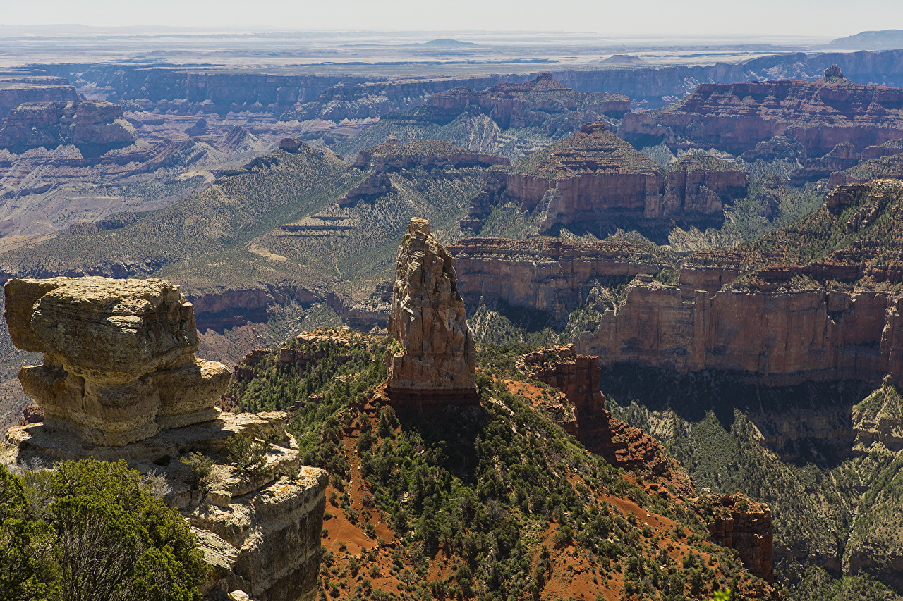 Desktop Wallpapers Grand Canyon Park USA Arizona Crag Nature canyons park From above Rock Cliff Canyon Parks
