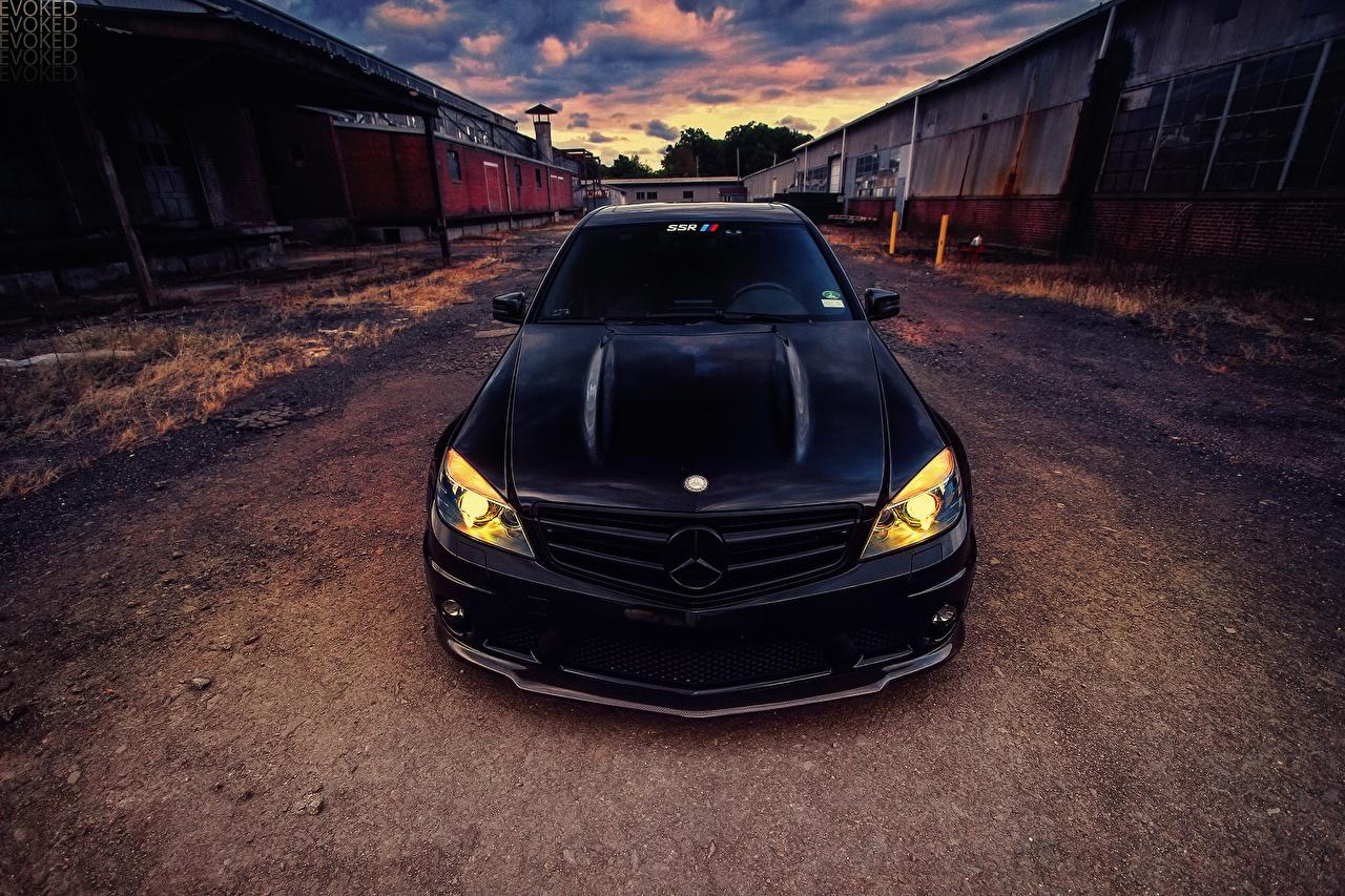Desktop Wallpapers Mercedes-Benz c63 Black auto Front Cars automobile