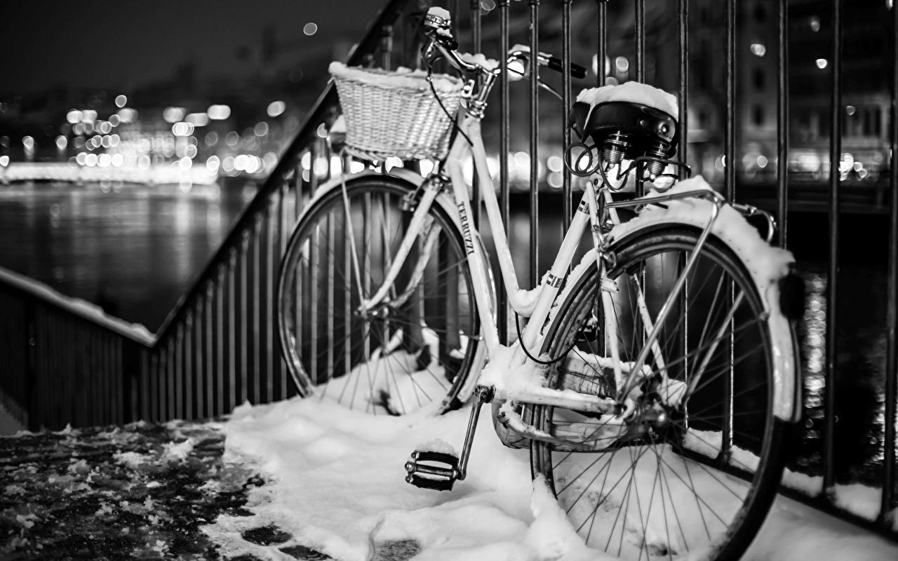 zdjęcie rowery Zima Płot Śnieg Rower zagroda